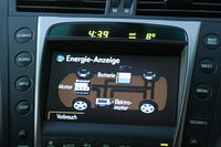 The dash display shows what the hybrid power system is doing at all times (or displays the radio, gps, etc.)